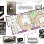 Pianta di un appartamento e concept board